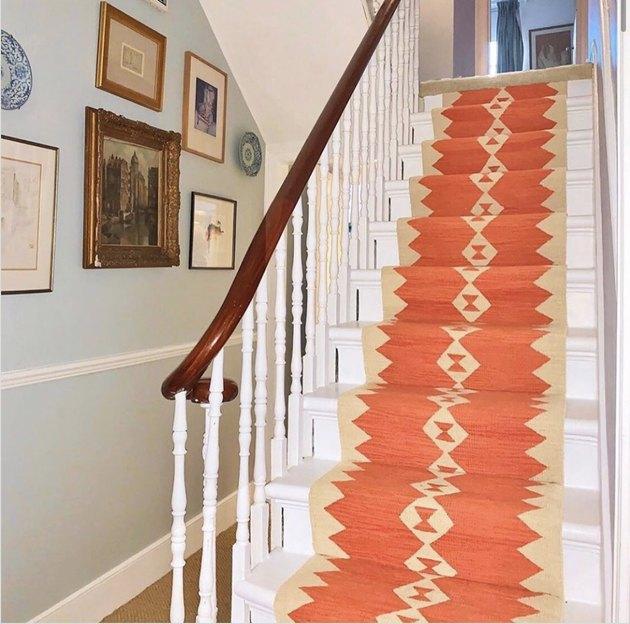 Orange and cream Kilim-inspired stair runners