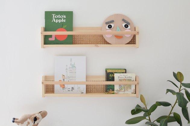 DIY Cane Bookshelves with books