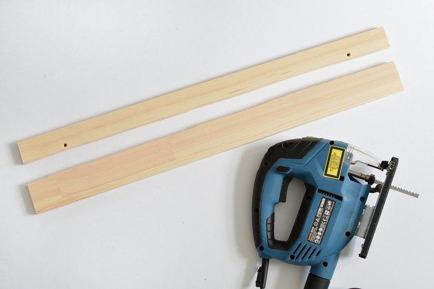Wooden shelf cut in half with jigsaw