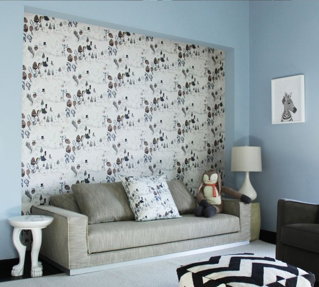 Pastel blue basement paint colors for lounge with patterned wallpaper