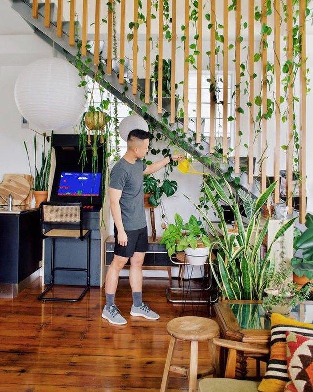 Ron Goh of Mr. Cigar Loft watering plants in loft