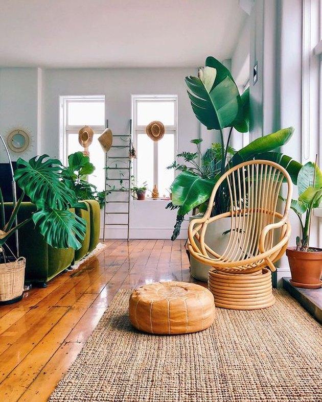 Mr. Cigar Loft living room detail with rattan chair