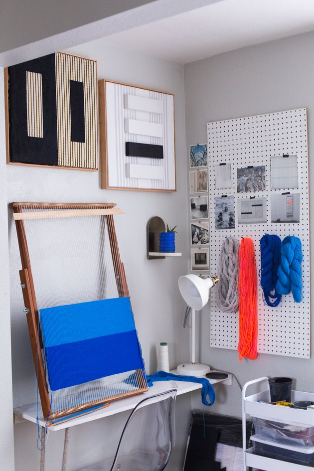 Weaving craft corner with pegboard basement wall ideas