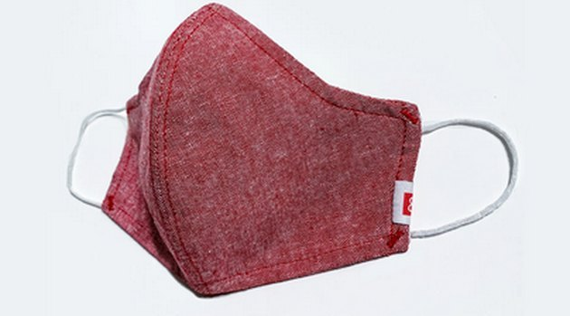 Hedley & Bennett red fabric face mask with elastic ear loops