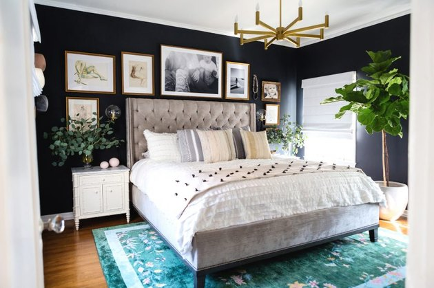 dark blue traditional bedroom color schemes with gallery wall