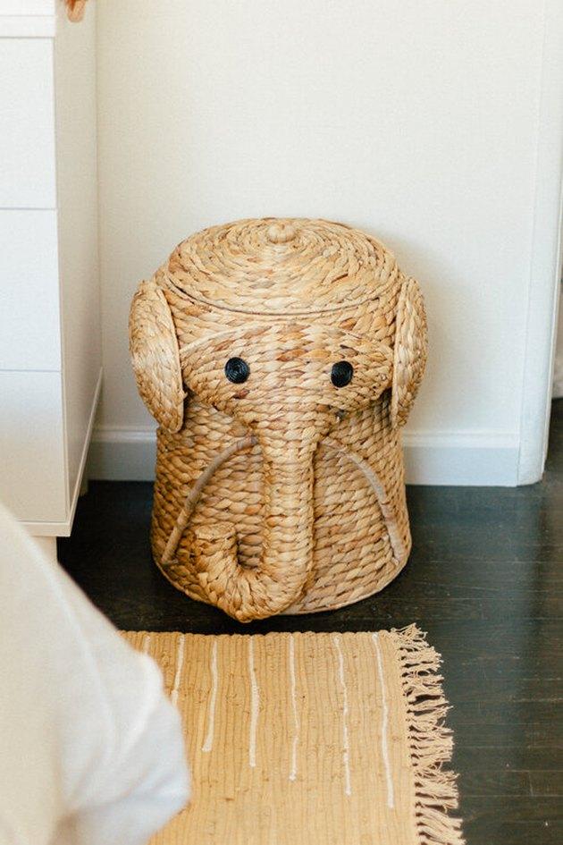 Basement Playroom Ideas with elephant hamper