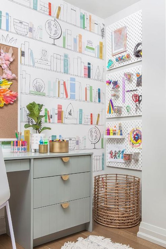 Basement Playroom Ideas with art station and desk