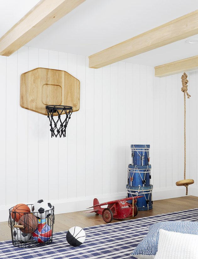 Basement Playroom Ideas with sports zone and basketball hoop