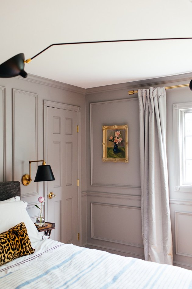 paneled master bedroom with lavender traditional bedroom color schemes