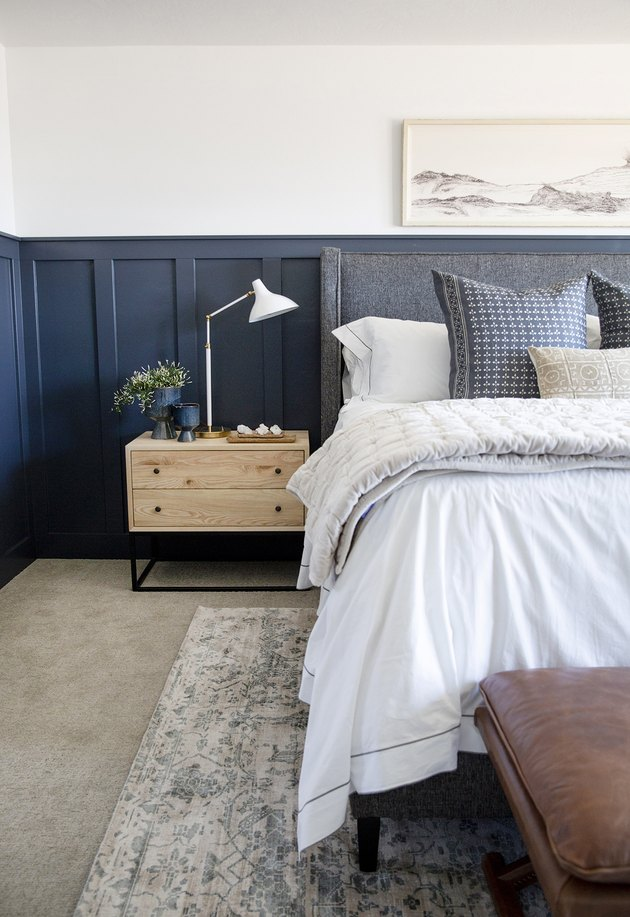 blue and white traditional bedroom color schemes with wainscoting