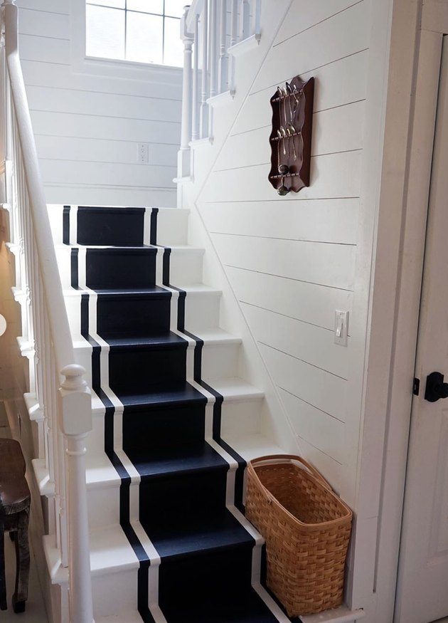painted stairs with navy nautical stripes