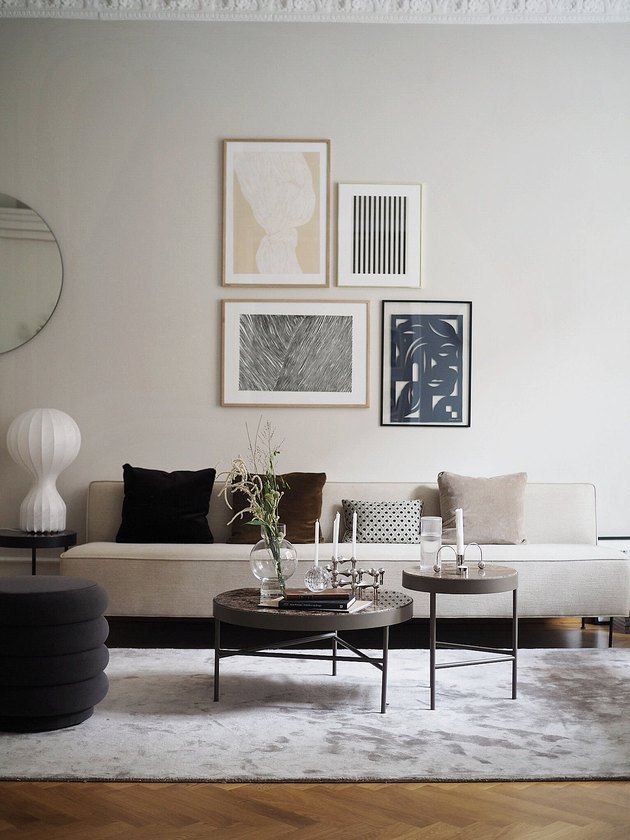 griege neutral colors in living room with gallery wall