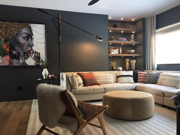 family room carpet ideas with textured rug and black walls