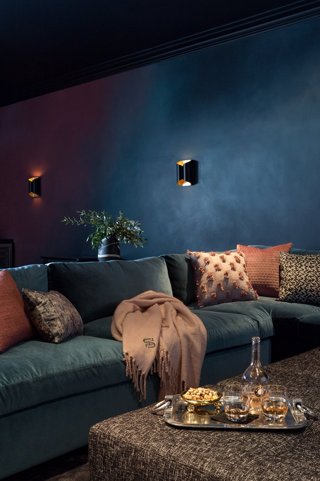 teal basement paint colors with teal sectional and wall sconces