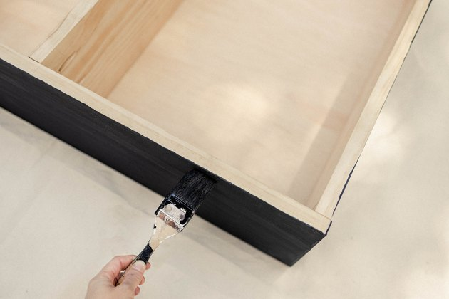 Painting side of wood cabinet black