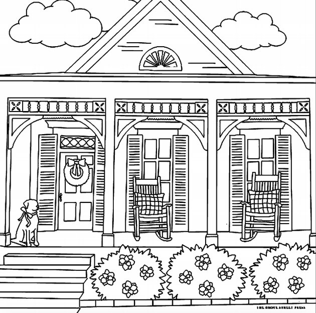 coloring book page of a front porch
