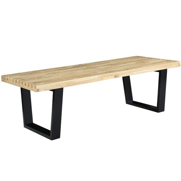 Blonde wood slatted bench with black metal base
