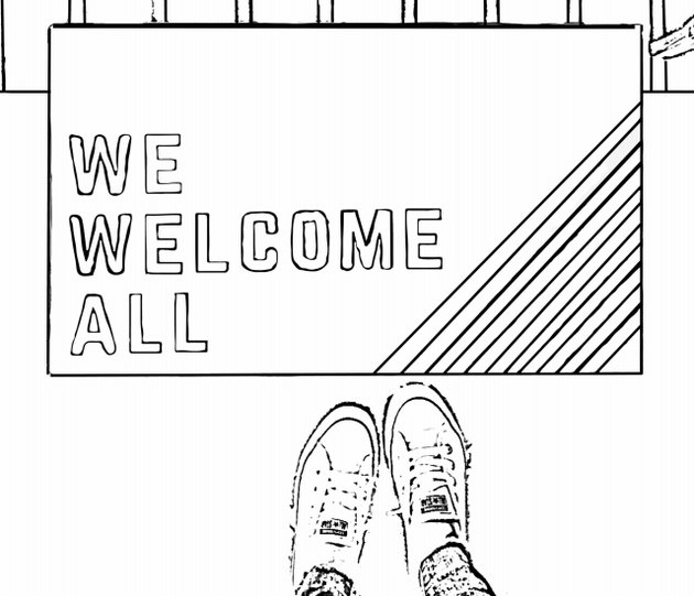 coloring book page with doormat and shoes