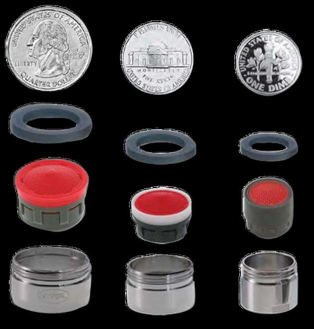 Faucet aerator sizes.