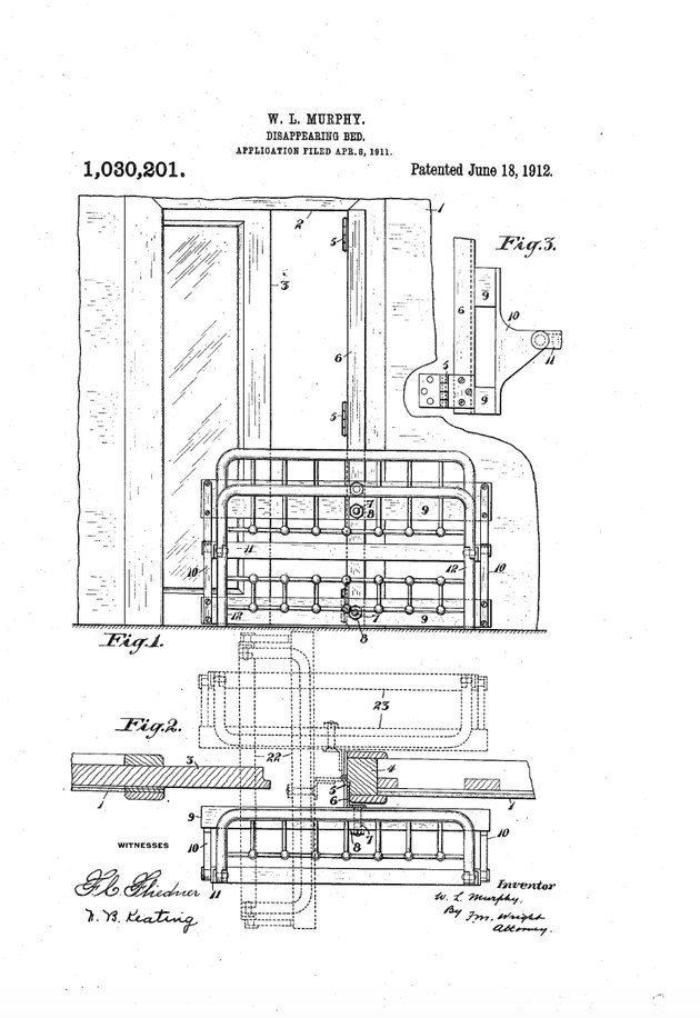 "William Lawrence Murphy's original ""Disappearing Bed"" patent."