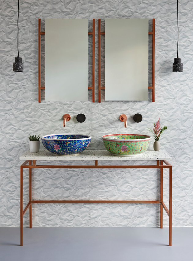 bathroom sink idea with vessel sinks and pendant lights hanging near mirrors