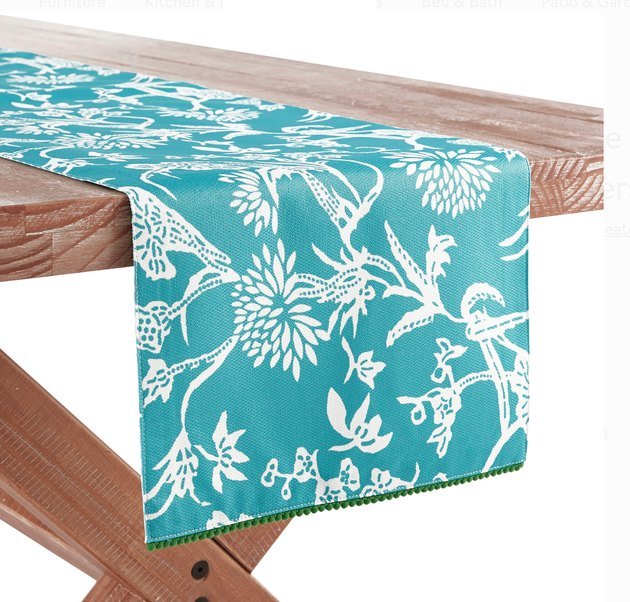 turquoise floral table runner