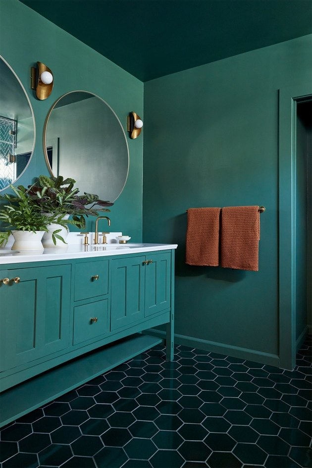 maximalist bathroom with green walls, green ceiling, and green hex floor tile