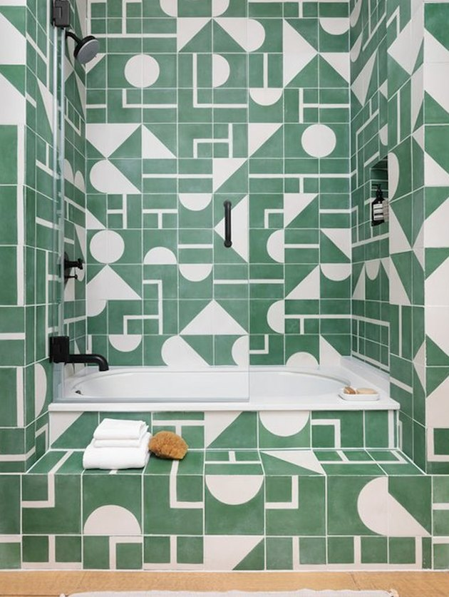 colors that go with green, green and white geometric