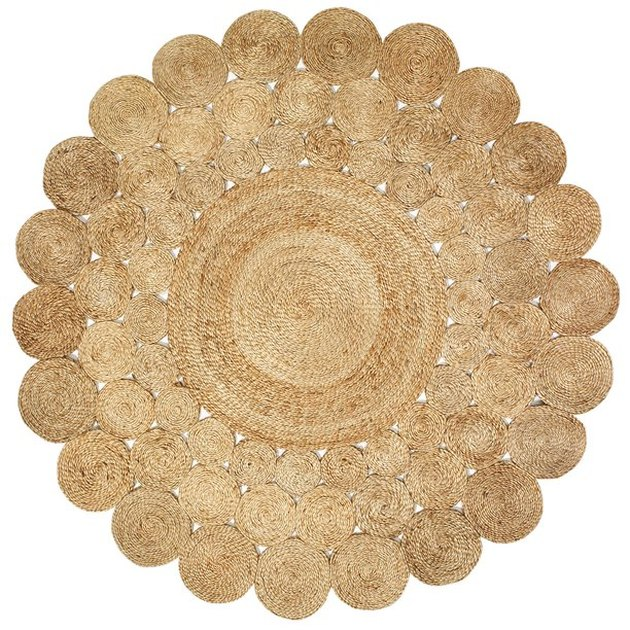 LR Home Natural Jute Hand Braided Floral Round Rug