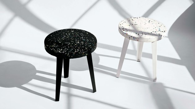 black and white stools