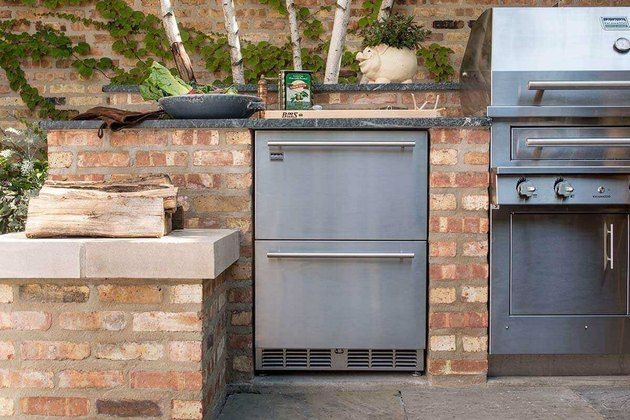 brick outdoor kitchen idea with stainless steel refridgerator