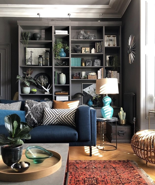 grey living room makeover idea with IKEA billy bookcase hack