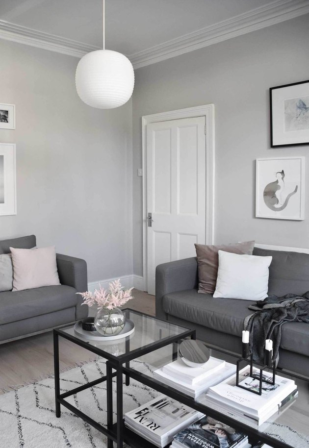 grey and muted warm minimal living room makeover idea