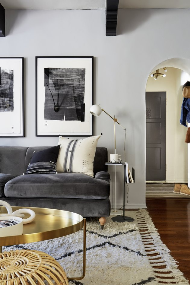 charcoal color sofa in gray living room