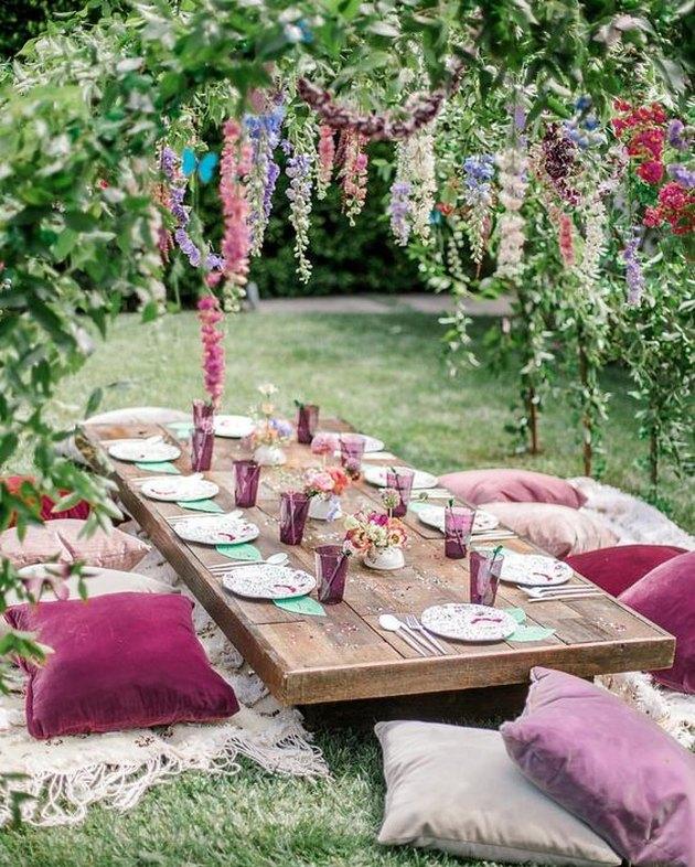 bohemian garden party with floral scheme