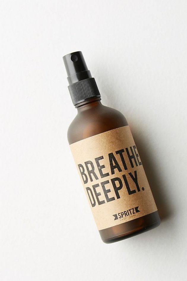 "essential oil spray bottle with text ""breathe deeply"""
