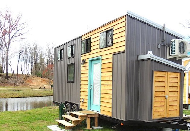 A peek at one of the vacation retreats for rent at a micro-house village near the Great Smoky Mountains in Flat Rock, North Carolina.