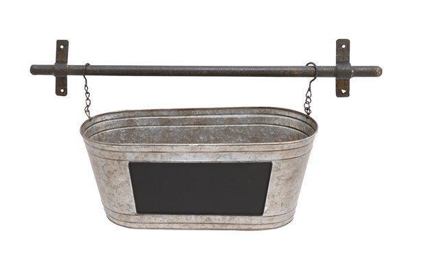 Decmode Farmhouse 11 X 24 Inch Silver Metal Tub Wall Planter