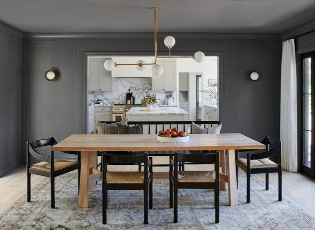 charcoal color dining room with painted walls and ceiling