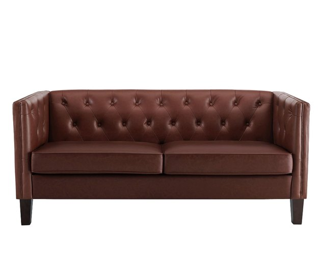 chocolate midcentury faux leather sofa