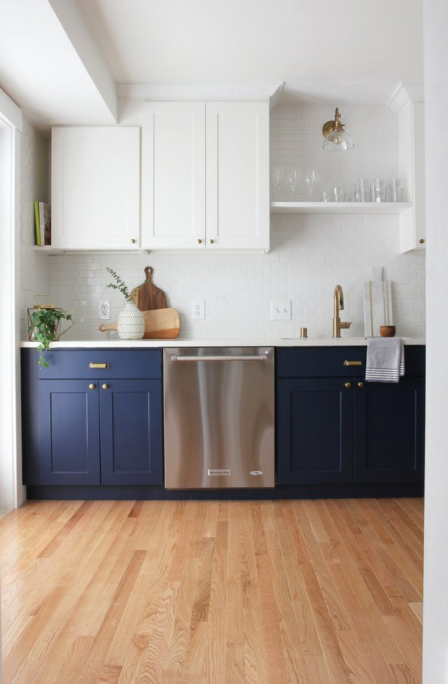 Pantone Color of the Year Classic Blue on kitchen cabinets