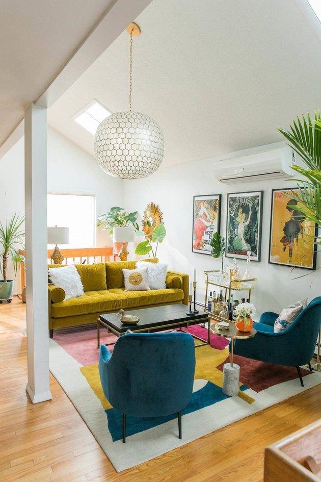 Midcentury sofa in colorful midcentury modern living room
