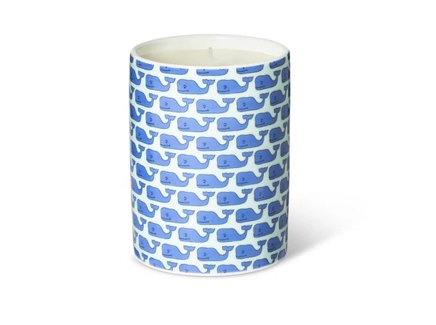 white candle with blue whale pattern