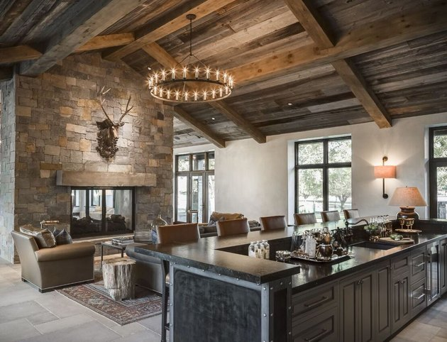rustic bar ideas with wooden ceiling and black bar
