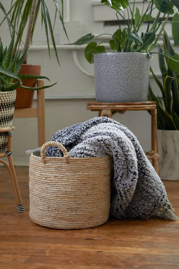 basket with throw blanket and plant nearby