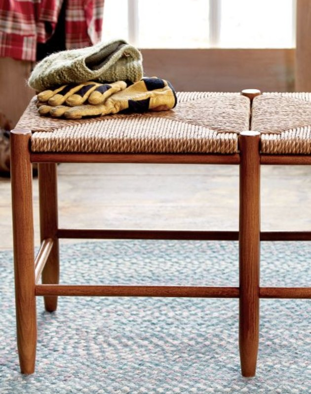 Handcrafted wooden and rattan entry bench
