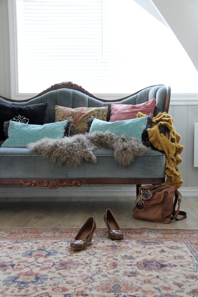 cabriole traditional style sofa with light blue velvet
