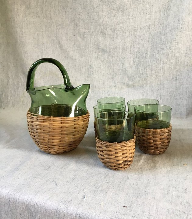 Vintage Wicker Pitcher and Glass Set, $54