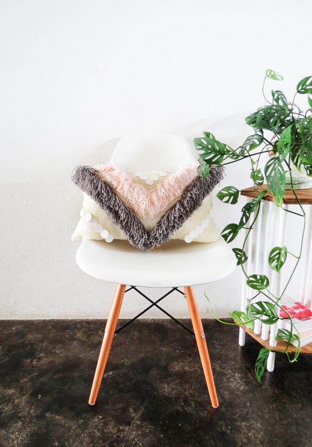DIY Yarn Fringe Throw Pillow