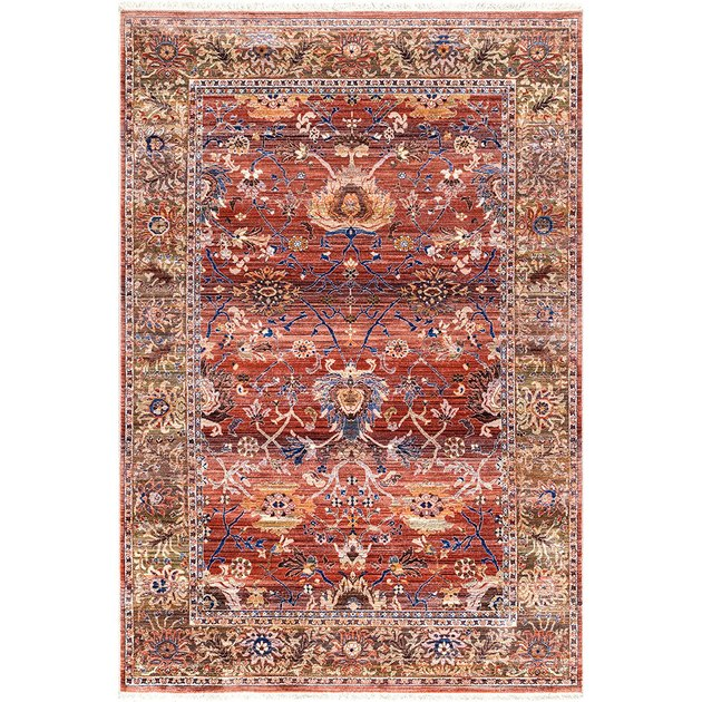 Red-dominant kilim area rug